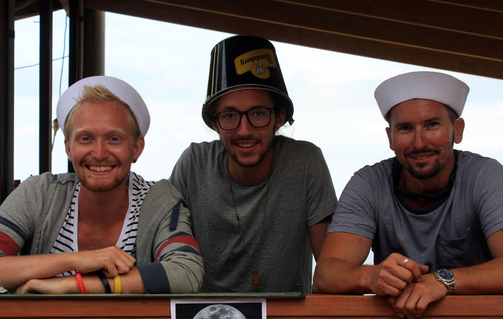 Troy Mahony, James Seaman & Mikey Cohen at the Beach Party, Sunday. Sealink Magnetic Island Race Week 2011 ©  SW