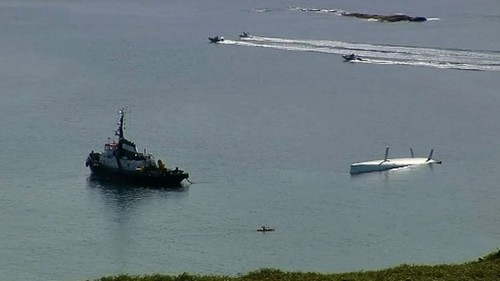 Rambler 100 being righted righted in Barley Cove bay, Co Cork © SW