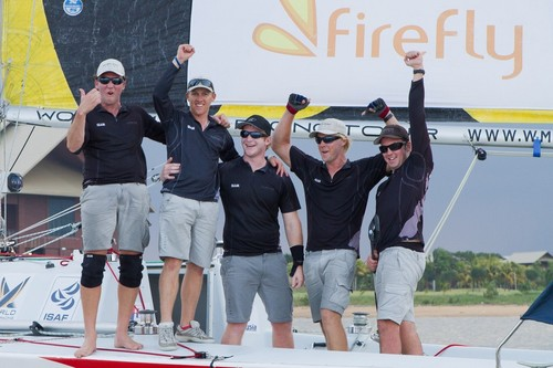 Will Tiller and his Full Metal Jacket Racing Team after winning the finals of the Asian Match Racing Championships 2011 © Gareth Cooke - Subzero Images http://www.subzeroimages.com