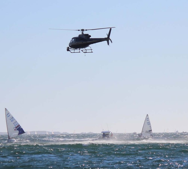 Helicopter and TV boats in action Fremantle - ISAF World Sailing Championships © Robert Deaves/Finn Class http://www.finnclass.org