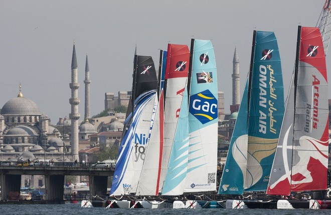 Act 3.Turkey The fleet racing on day 1 in front of the historic Istanbul skyline - Extreme Sailing Series 2011 © Lloyd Images http://lloydimagesgallery.photoshelter.com/