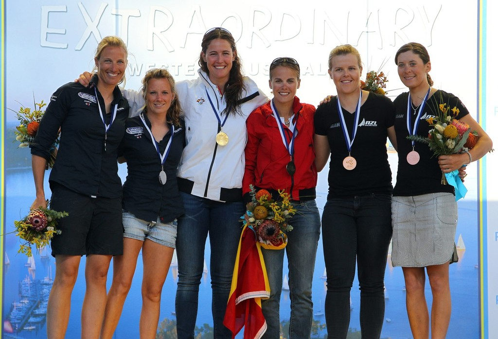 Tara Pacheco, Berta Betanzos, Saskia Clark, Hannah Mills, Jo Aleh, Olivia Powrie at the Medal Ceremony,  Women's 470 December 18 2011 off Fremantle, Australia.  ©  Richard Langdon /Perth 2011 http://www.perth2011.com