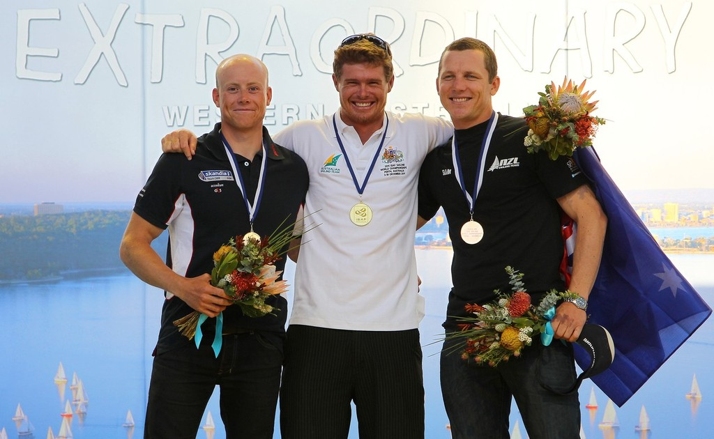 Tom Slinsgby, Nick Thompson, Andrew Murdoch  Medal Ceremony, Mens Laser December 18 2011 off Fremantle, Australia.  ©  Richard Langdon /Perth 2011 http://www.perth2011.com