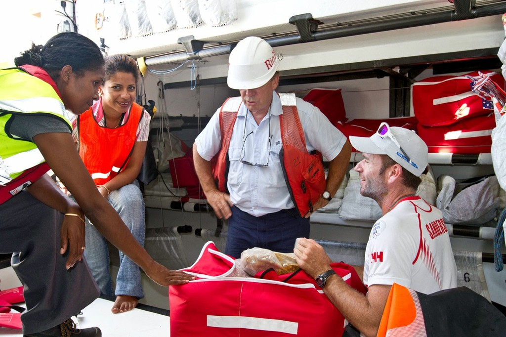 Skipper Mike Sanderson gives a tour of Team Sanya in Madagascar during leg 2 of the Volvo Ocean Race 2011-12, from Cape Town, South Africa to Abu Dhabi, UAE. © Andres Soriano/Team Sanya/Volvo Ocean Race
