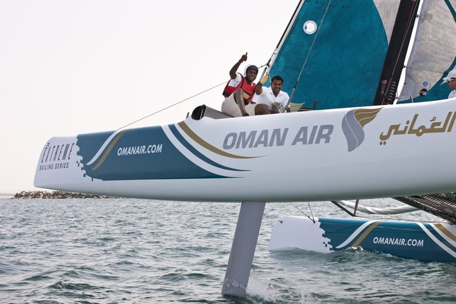 Omani footballer, Saad al-Mukhaini enjoying the ride on Oman Air on day 3 - Extreme Sailing Series 2012. Act 1 © Lloyd Images http://lloydimagesgallery.photoshelter.com/