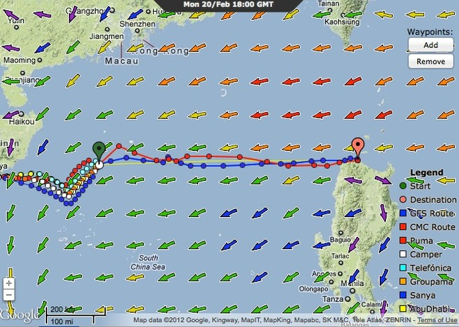 Groupama will have a near direct course to the waypoint at the Philippines according to the positions at 1800 GMT on 20 February 2012 © PredictWind.com www.predictwind.com