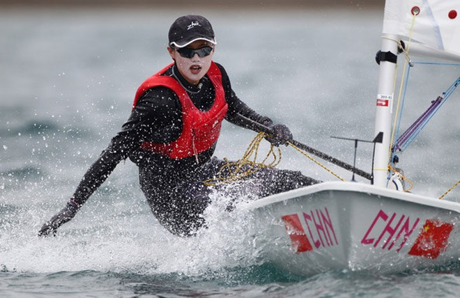 Lijia Xu winning Olympic Test event Laser Radial medal race ©  Clive Mason/Getty Images Europe)