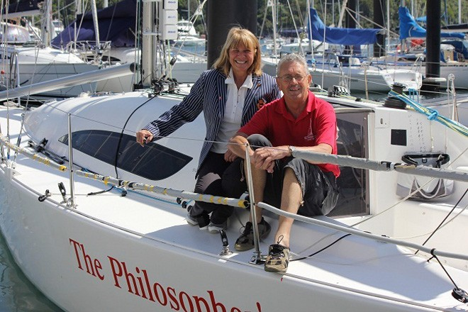 MHYC Commodore Julie Hodder and Peter Sorensen aboard his entry The Philosopher's Club. © MHYC http://www.mhyc.com.au/