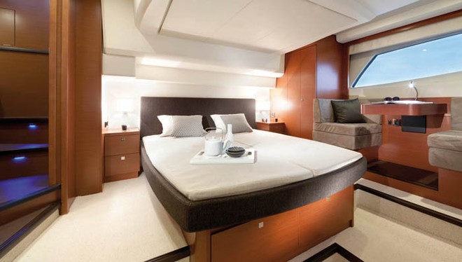 The owner's stateroom with private entrance © Prestige Luxury Motor Yachts