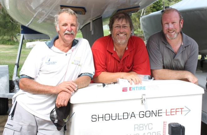 Should'a Gone Left mates Wayne Dixon, Peter Coleman and Iain Gartley - Zhik Etchells National Championship 2012 © Tracey Johnstone