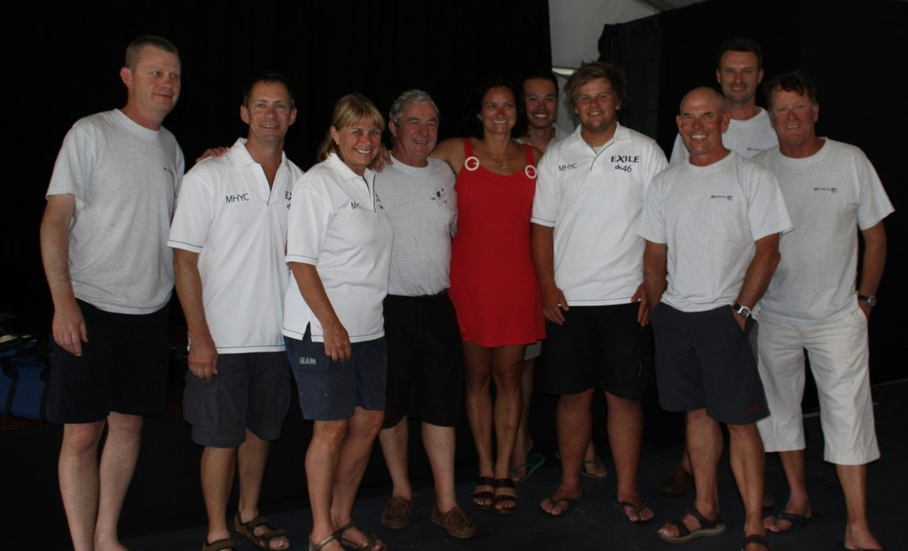 The Exile crew celebrate victory in the 2012 Pittwater to Coffs race - 2012 Pittwater & Coffs Harbour Regatta © Damian Devine