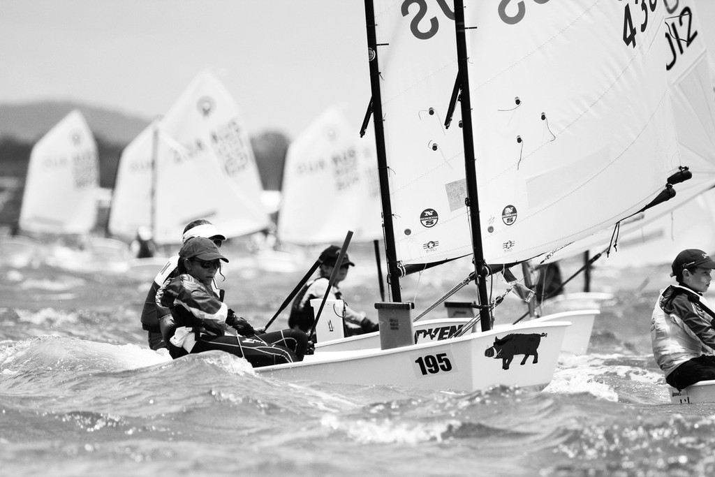 Fleet coming downwind - www.andrewgoughphotography.com - Australian Optimist Championships  © Andrew Gough - copyright http://www.andrewgoughphotography.com