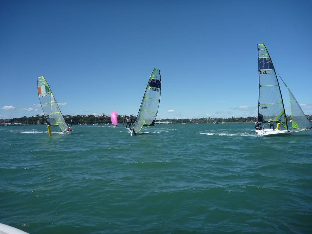 Close racing at the bottom mark with the Irish in Auckland. © Peter Burling and Blair Tuke