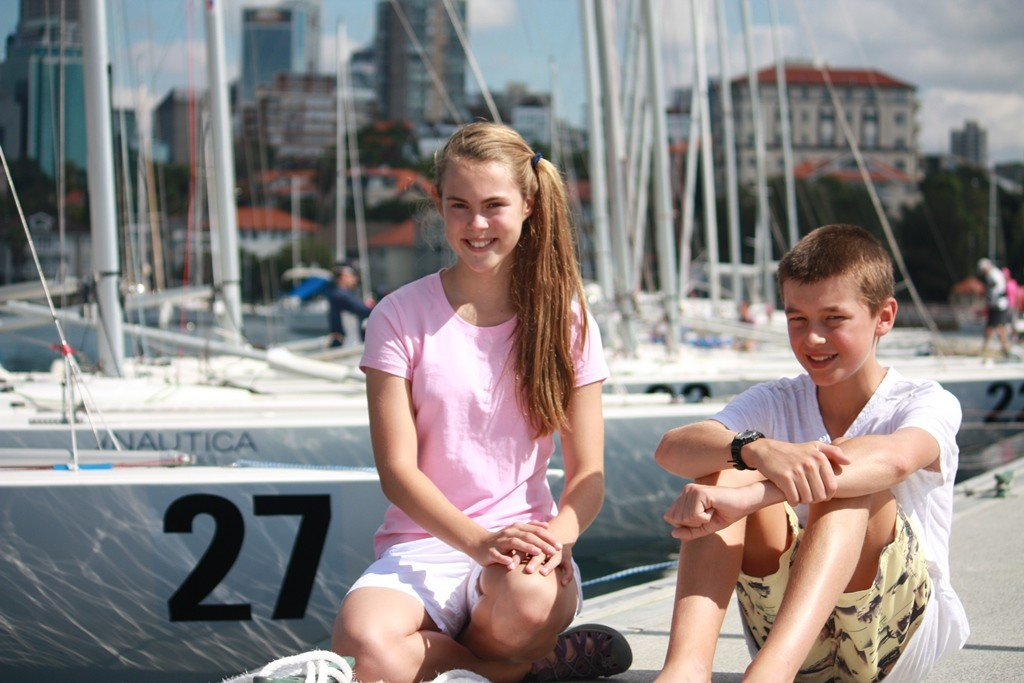 Etchells Worlds 2012, Yandoo XX's Tiana Wittey and Menace's Harry Smith, youngest members of the fleet © Anousha Fluck - copyright