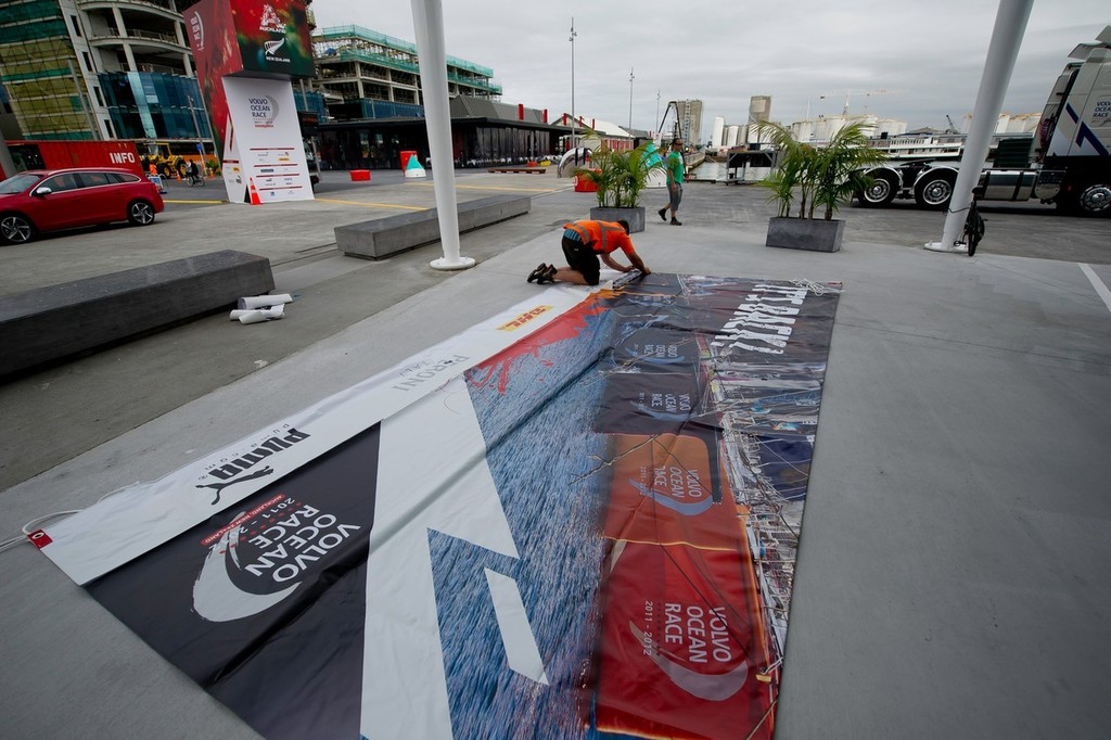 Branding is put up around the Auckland race village, during the Volvo Ocean Race 2011-12.  © Paul Todd/Volvo Ocean Race http://www.volvooceanrace.com