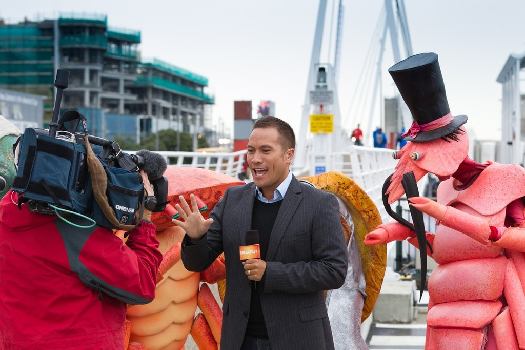 TVNZ Breakfast Show weather man Tamati Coffey broadcasts live from the official opening of the Auckland race village, for the Volvo Ocean Race 2011-12.  © Paul Todd/Volvo Ocean Race http://www.volvooceanrace.com