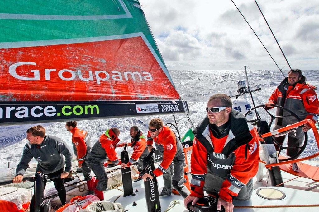 Groupama Sailing Team about to tack, during leg 4 of the Volvo Ocean Race 2011-12 © Yann Riou/Groupama Sailing Team /Volvo Ocean Race http://www.cammas-groupama.com/