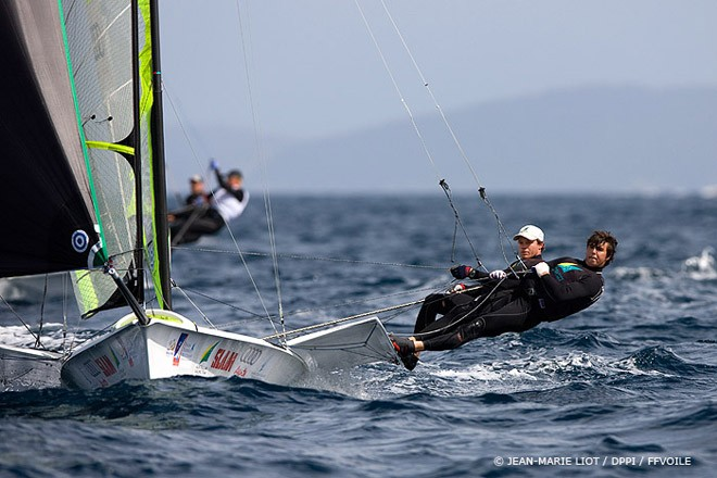 49er Class: Australians Jensen and Outteridge in the lead  <br />  - Semaine Olympique Francaise 2012 &copy;  Jean-Marie Liot /DPPI/FFV