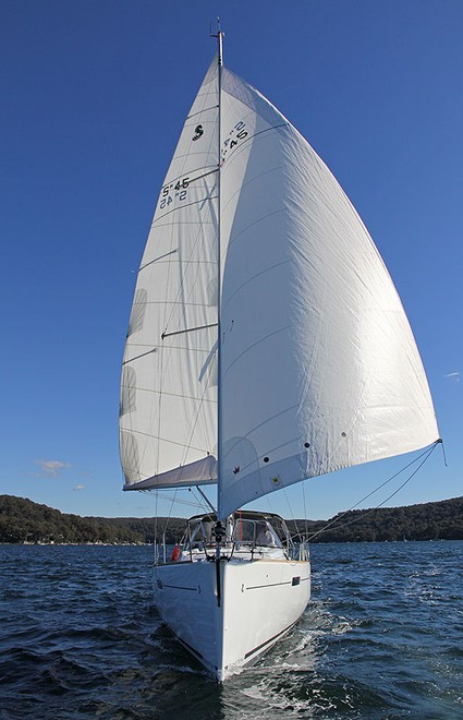 For the moment, Goosewinging the 50m2 headsail and 50m2 mainsail is the only option downhill. - Oceanis 45 ©  John Curnow