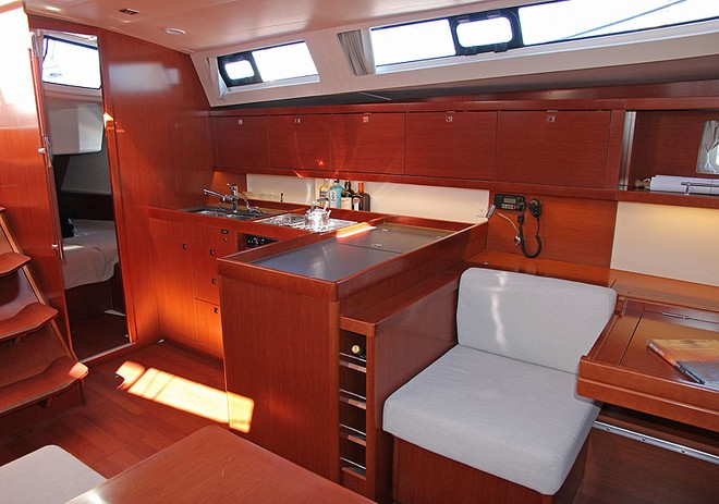 Modular nav station and galley occupy the port side of the main saloon. - Oceanis 45 ©  John Curnow