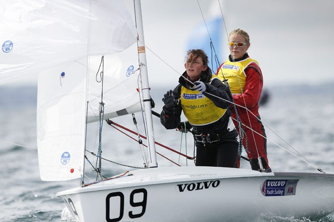Annabel Vose and Kirstie Unwin,420,- 2012 Four Star Pizza ISAF Youth Sailing World Championships  ©  Paul Wyeth / RYA http://www.rya.org.uk