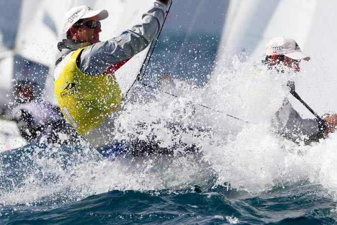 Belcher and Page in the medal race in Hyeres - Semaine Olympique Francaise 2012 © Thom Touw http://www.thomtouw.com