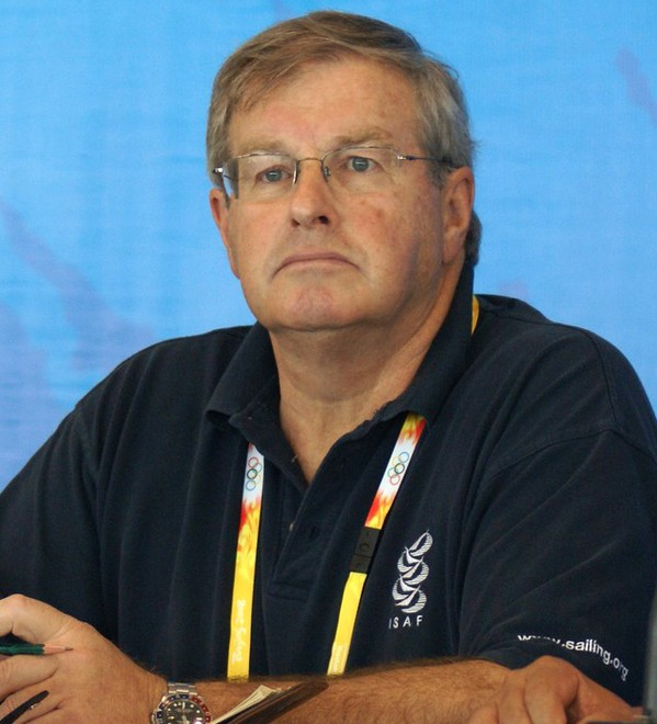 David Kellett speaking at the Opening Media Conference for the 2008 Olympics where he was the ISAF Technical Delegate, a role he also filled at the 2012 Olympics at Weymouth © Richard Gladwell www.photosport.co.nz