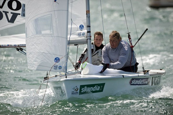 Hannah Mills and Saskia Clark, (GBR) racing in the 470 Women class on day 6 of the Skandia Sail for Gold Regatta, in Weymouth and Portland, the 2012 Olympic venue. © onEdition http://www.onEdition.com