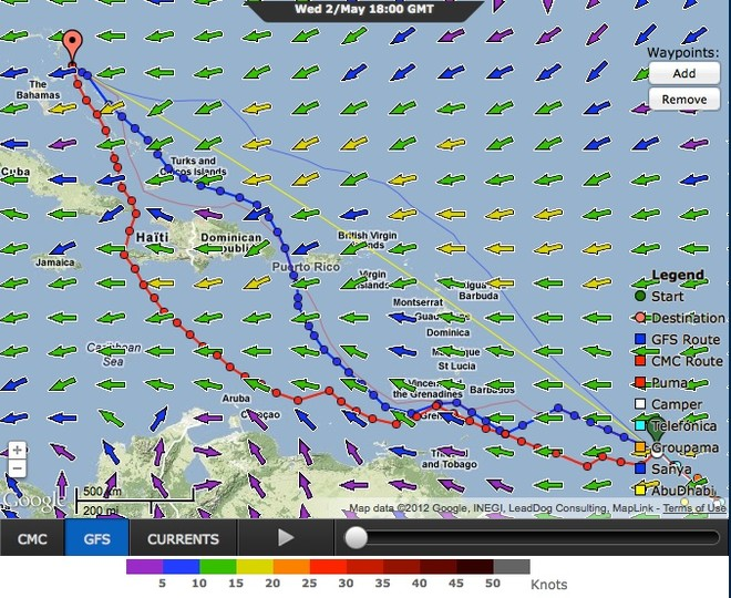 Somehow these four options (two of which are in close agreement look somewhat simpler and with less hair-loss for the navigators, the light airs nightmare currently ahead of the fleet leaders. Four routing options for Camper - Leg 6 at 1800hrs on 02 May 2012 GMT  © PredictWind.com www.predictwind.com