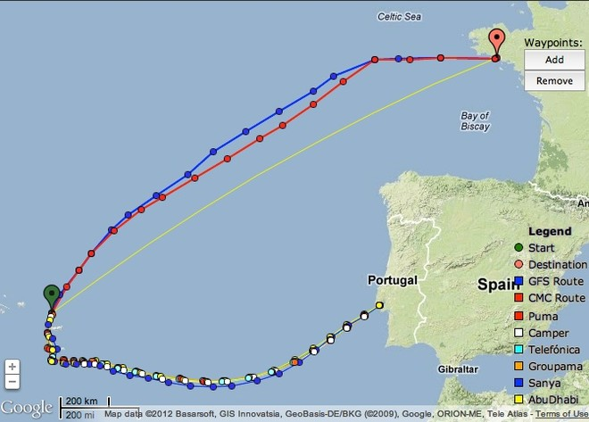 No real course options heading for Lorient, Leg 8 Volvo Ocean Race © PredictWind.com www.predictwind.com