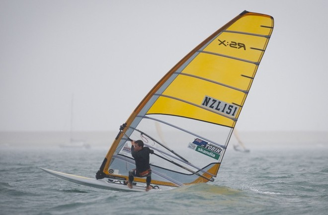 JP Tobin, (NZL) racing in the RSX Mens class on the day 4 of the Skandia Sail for Gold Regatta, in Weymouth © onEdition http://www.onEdition.com