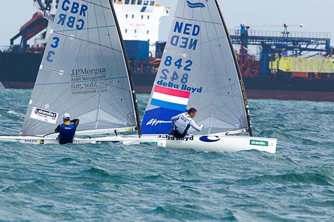 Sail for Gold 2012, Weymouth, England - Postma leads Ainslie © Thom Touw http://www.thomtouw.com