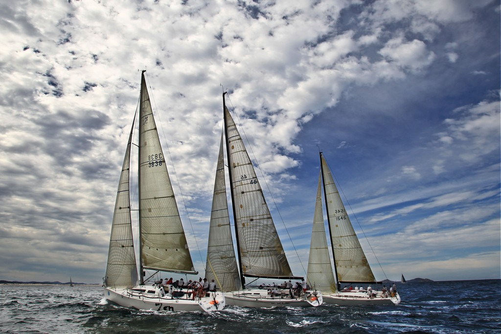 (L-R) 'Zen', 'Exile' and 'Victoire' race during the NSW IRC Championships at the 2012 Sail Port Stephens Regatta  © Matt King /Sail Port Stephens 2012
