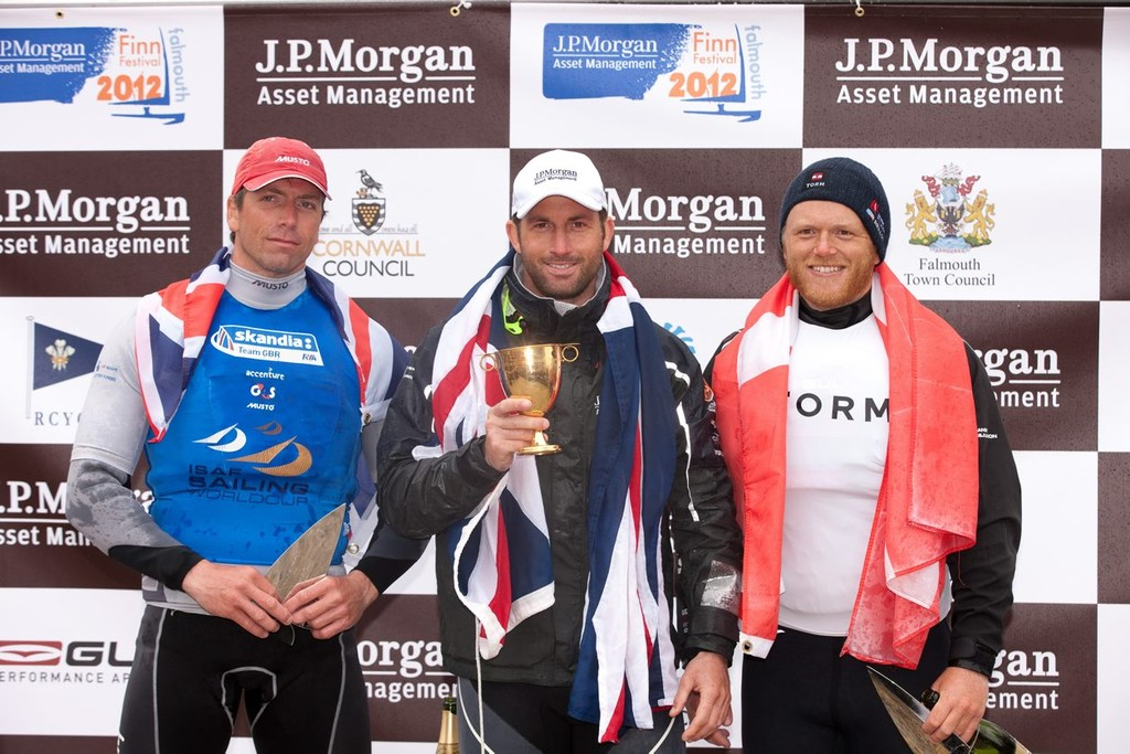 Ben Ainslie (1st) Ed Wright (2nd) and Jonas Hoegh-Christensen (3rd) celebrate on the podium of J.P. Morgan Asset Management Finn World Championship 2012 podium © Lloyd Images http://lloydimagesgallery.photoshelter.com/