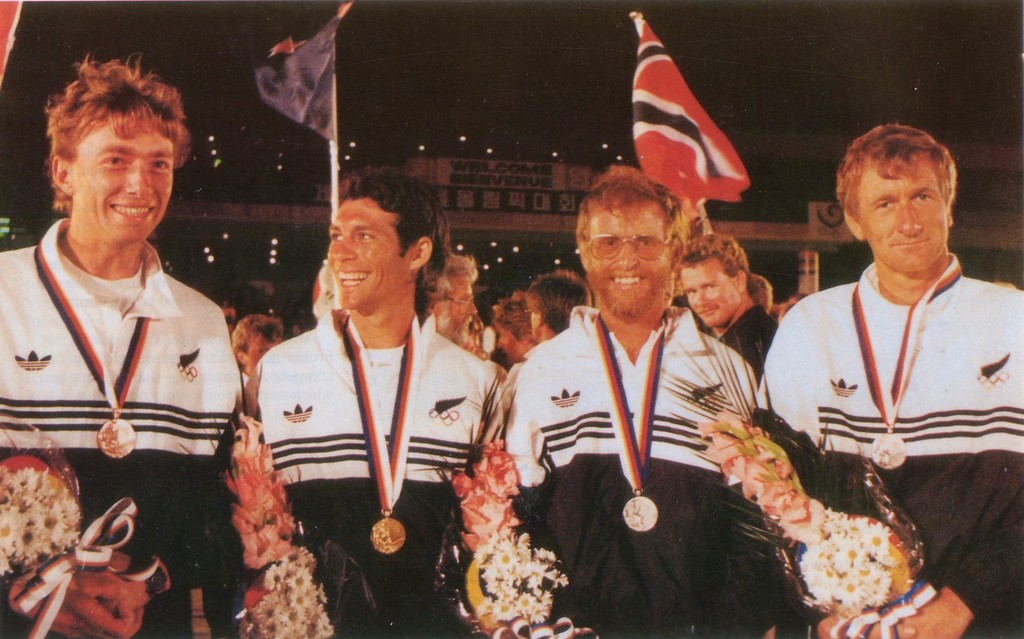John Cutler (left), Bruce Kendall, Chris Timms and Rex Sellers at the 1988 Olympics, Pusan, Korea. © SW