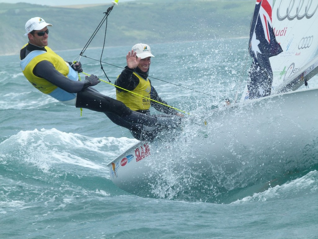 Belcher and Page celebrate after winning the 470 medal race - Skandia Sail for Gold 2012 © Eddie Gatehouse