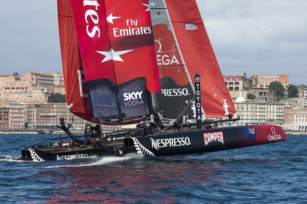 Emirates Team New Zealand lead the way in the fourth race of the regatta on day two of the America's Cup World Series in Naples. 12/4/2012 photo copyright Chris Cameron/ETNZ http://www.chriscameron.co.nz taken at  and featuring the  class
