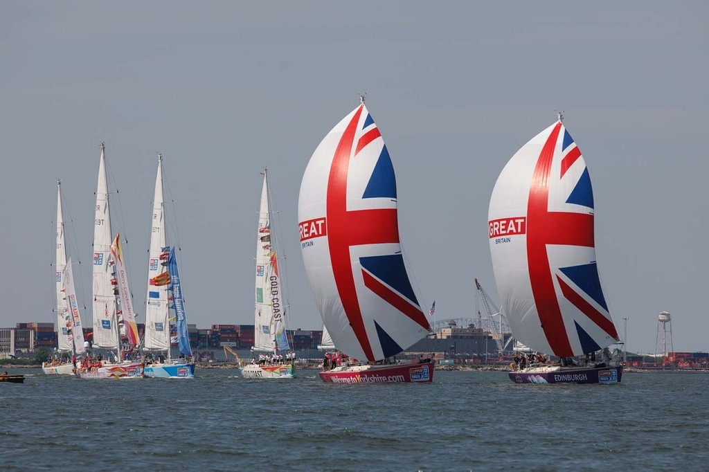 The Clipper Round the World Yacht Race fleet arrives in New York after performing a parade of sail to celebrate Queen Elizabeth IIÕs Diamond Jubilee. © Abner Kingman http://www.kingmanphotography.com