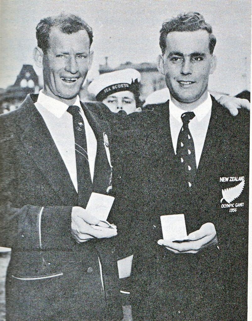 Rolly Tasker(left) with his Silver Medal. Peter Mander (NZL, right) won the Gold Medal - 1956 Olympics © SW