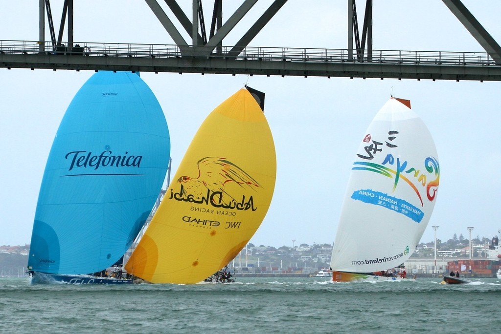 Telefonica, Abu Dhabi and Team Sanya framed bu the Auckland Harbour Bridge - Inport-Auckland-VOR (3) - Volvo Ocean Race: In Port Race, Auckland March 17, 2012 © Richard Gladwell www.photosport.co.nz