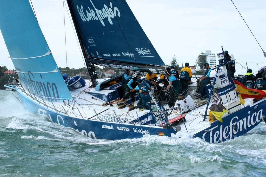 Telefonica clears away from the start - Inport-Auckland-VOR (6) - Volvo Ocean Race: In Port Race, Auckland March 17, 2012 © Richard Gladwell www.photosport.co.nz