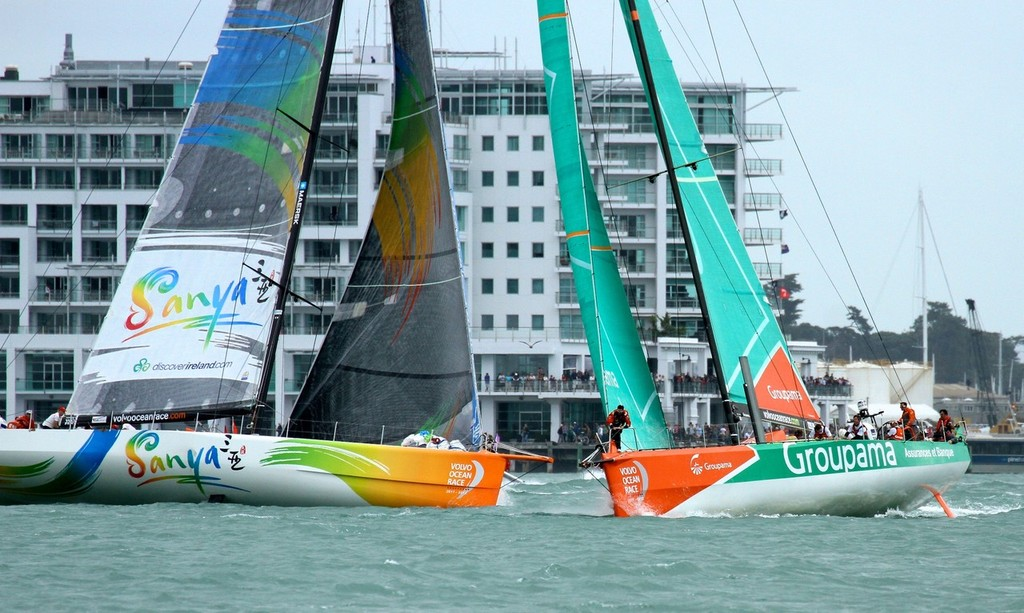 Groupama and Team Sanya cross tacks in from of a packed waterfront - Inport-Auckland-VOR - Volvo Ocean Race: In Port Race, Auckland March 17, 2012 © Richard Gladwell www.photosport.co.nz