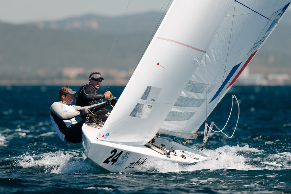 Bronze medalist in the 2004 Olympics, Xavier Rohart and Pierre-Alexis Ponsot (France), also part of the Zhik Sailing team seen here competing at Hyeres, France © Juerg Kaufmann go4image.com http://www.go4image.com