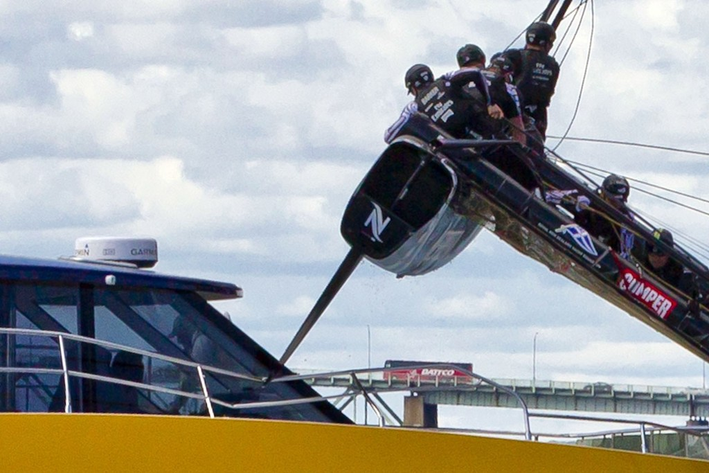 Emirates Team NZ hits official Timing Boat Newport, ACWS Newport<br /> Training day &copy; Luna Rossa/Studio Borlenghi
