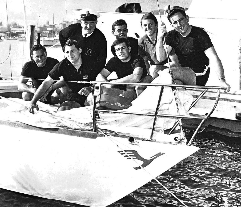 Rainbow's One Ton Cup winning crew (from left).- Back row: Arnold Baldwin (manager), Ward Schofield, John Woolley, Alan Warwick. Front row: Roy Dickson, Chris Bouzaid, David Craig © SW