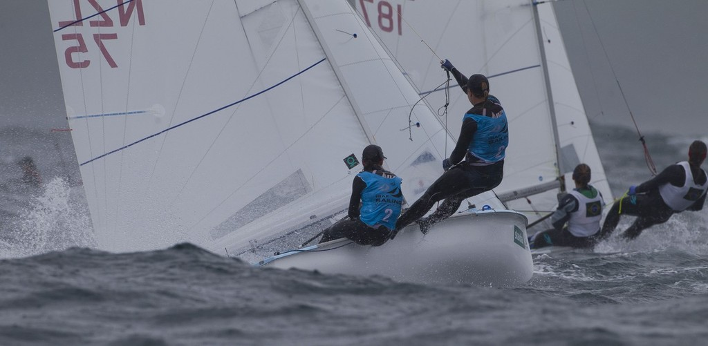 Jo Aleh and Olivia Polly Powrie, (NZL) racing in the 470 Women class on day 4 of the Skandia Sail for Gold Regatta, in Weymouth © onEdition http://www.onEdition.com