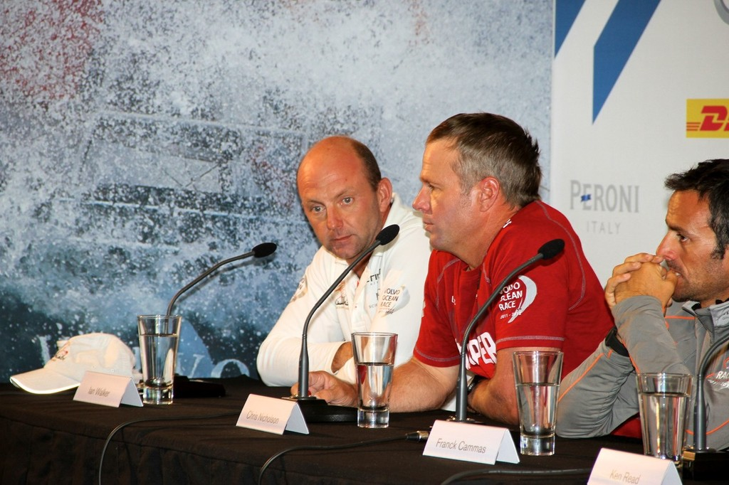 Franck Cammas (obscured), Chris Nicholson and Ian Walker - Volvo Ocean Race - Skippers Media Conference, March 16, 2012 © Richard Gladwell www.photosport.co.nz