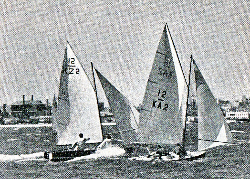 New Zealand (left) with Rolly Tasker (KA2 ) in the 1956 Olympics in Melbourne. Both competitors finished tied on points,with the tiebreaker for the Gold Medla working the way of Peter Mander and Jack Cropp (NZL) © SW
