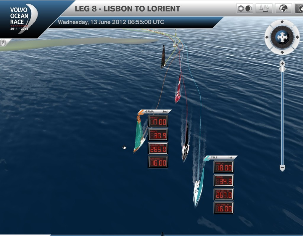 Telefonica leads with Team Sanya just rounding Sao Miguel, Leg 8 Volvo Ocean Race. Boat speed is on the top readout, windspeed on the bottom. Both Groupama and Telefonica are sailing at windspeed. © Virtual Eye/Volvo Ocean Race http://www.virtualeye.tv/