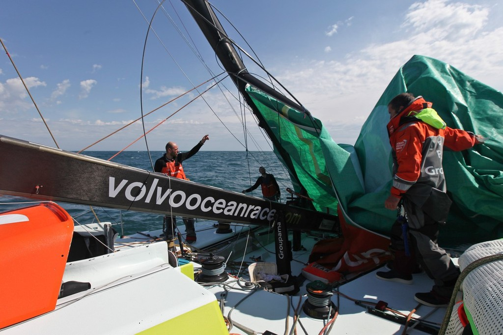 Groupama Sailing Team, skippered by Franck Cammas from France, suspend racing from leg 5 of the Volvo Ocean Race 2011-12, from Auckland, New Zealand to Itajai, Brazil, after the mast broke just above the first spreader around 60 nautical miles south of Punta del Este.  © Yann Riou/Groupama Sailing Team /Volvo Ocean Race http://www.cammas-groupama.com/